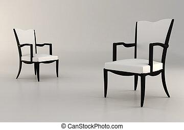 3d armchair, studio render