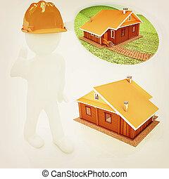 3d, arquiteta, em, um, chapéu duro, com, polegar cima, com, real, plans., 3d, illustration., vindima, style.