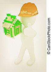 3d, arquiteta, homem, em, um, chapéu duro, com, polegar cima, com, registro, casa, de, matches., 3d, illustration., vindima, style.