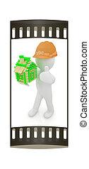 3d, arquiteta, homem, em, um, chapéu duro, com, polegar cima, com, registro, casa, de, matches., a, faixa película