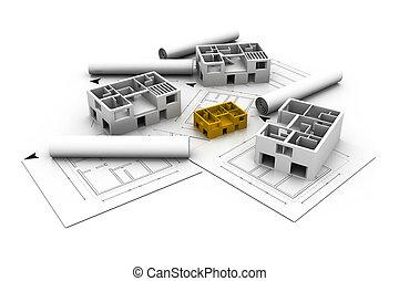 3d, arquitetura, casa, impressão azul, plano