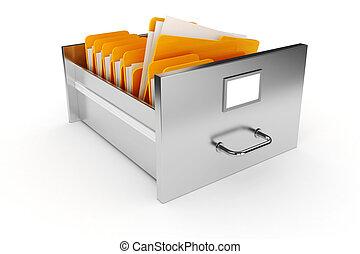 3d, arquive gabinete, branco, fundo