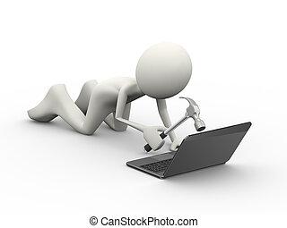 3d, arrabbiato, pc, utente, colpire, laptop, con, martello
