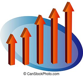 3d arrow bar up - 3d barchart in the shape of arrows going...
