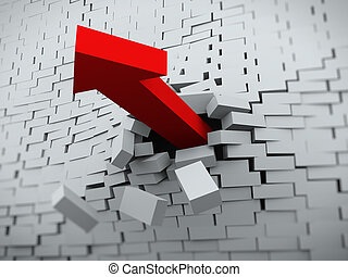 3d arrow burst through brick wall