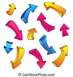 3D arrow color sketchy design elements set
