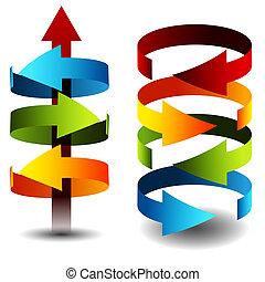 3d Arrow Cylinders - An image of 3d arrow cylinders.
