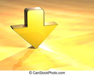 3D Arrow Gold Sign