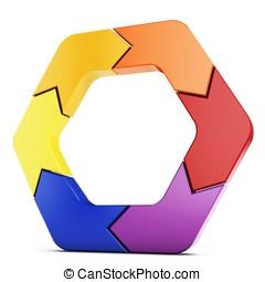 3d arrow hexagon