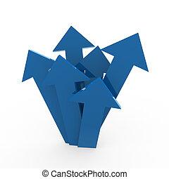 3d arrow high blue
