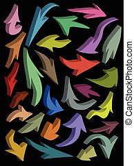 3d arrow icon silhouette color collection over black