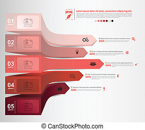 3d arrow options number with icons - Vector business...
