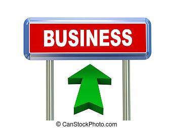 3d arrow road sign - business