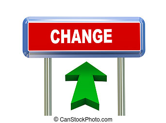 3d arrow road sign - change