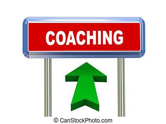 3d arrow road sign - coaching