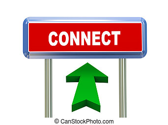 3d arrow road sign - connect