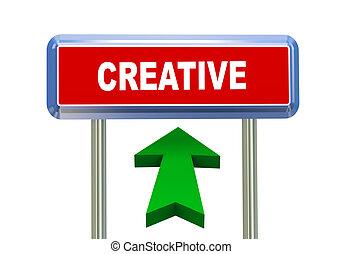 3d arrow road sign - creative