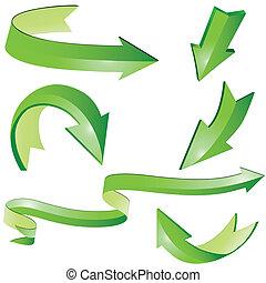 3D arrow sign set - Arrow sign 3D set vector illustration. ...