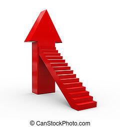 3d arrow stair - 3d illustration of upward stair arrow.