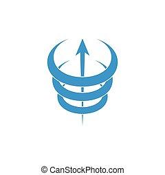 3d arrow up curves motion logo vector
