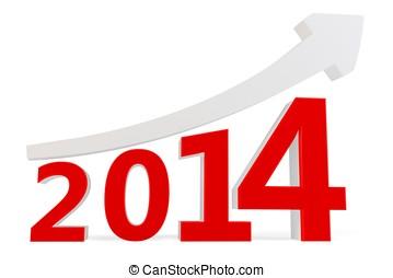 3D arrow with year 2014