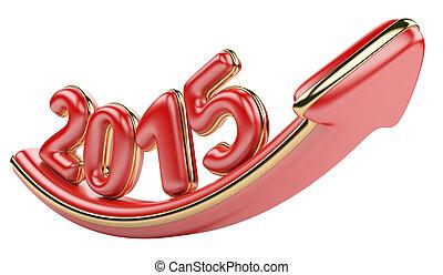 3D arrow with year 2015 growth upwa