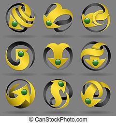 3d arrows design elements set