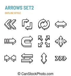 3d arrows in outline icon and symbol set