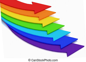3d arrows of color of rainbow on a white background