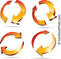 3d arrows. - Set of arrows. Vector illustration. .