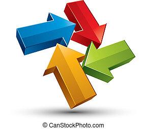 3d arrows vector icon.
