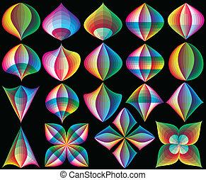 3D art deco vector design elements