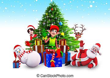 christmas elves sitting before tree