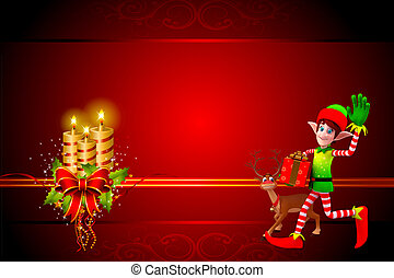 christmas elves with red background