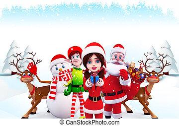 christmas team with santa