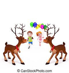 kids with reindeer