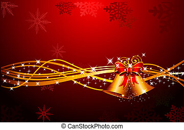red background with jingle bell - 3d art illustration of red...