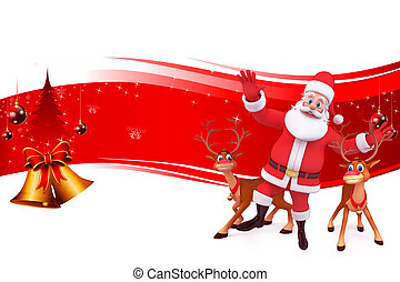 red background with santa
