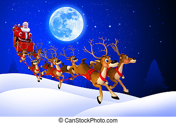 santa claus with his sleigh - 3d art illustration of santa ...