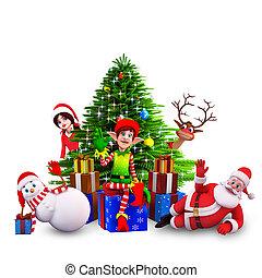 santa with all christmas team