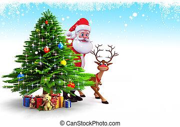3d art illustration of santa with christmas tree