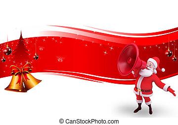 3d art illustration of santa with jingle bell