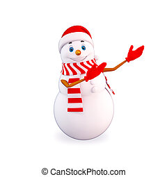 3d art illustration of snow man showing blank space