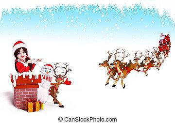3d art illustration of santa coming from chimney.