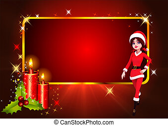 santa girl with red background