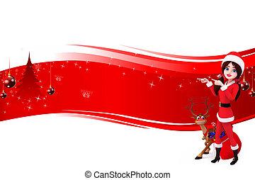 santa girl with reindeer