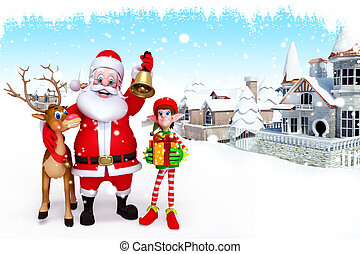 3d art illustration santa with elve and reindeer