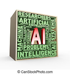 3d Artificial intelligence AI wordcloud