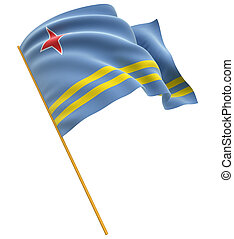 3D Aruba flag with fabric surface texture. White background.