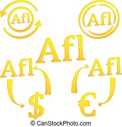 3D Aruban Florin currency of Aruba symbol icon vector illustration on a white background